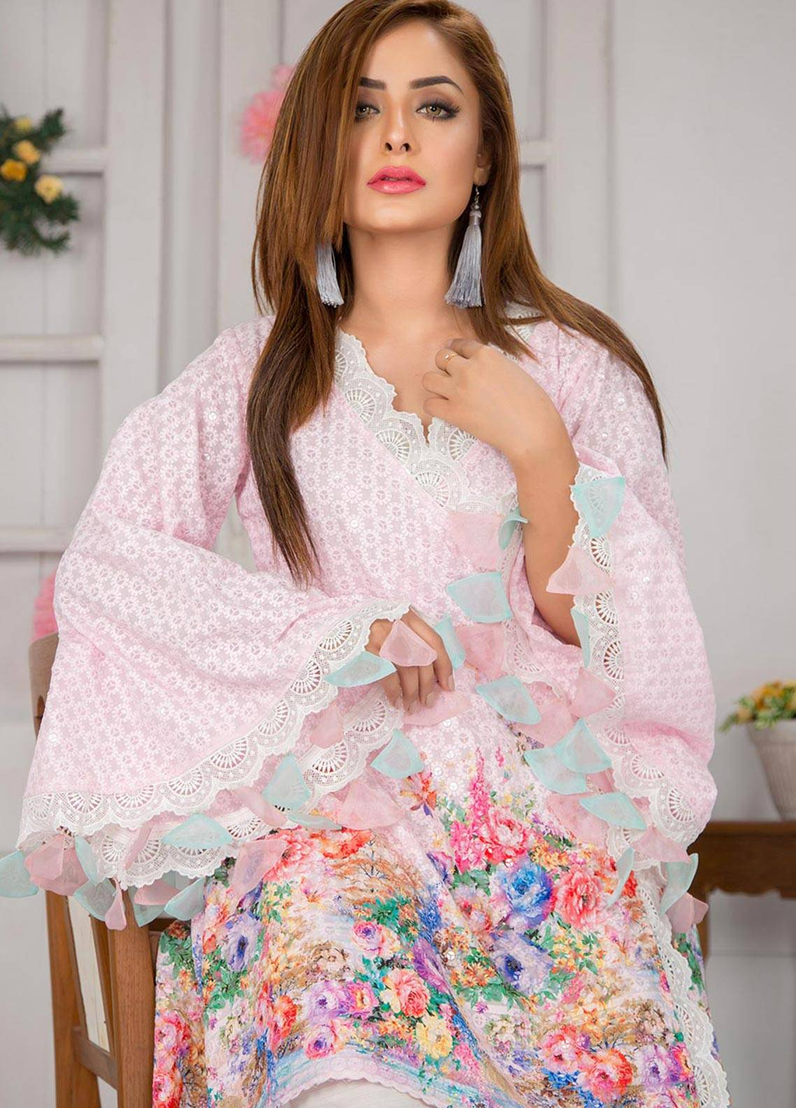 Chic Ophicial Embroidered  Stitched 3 Piece Suit CF17 ROSY WRAP