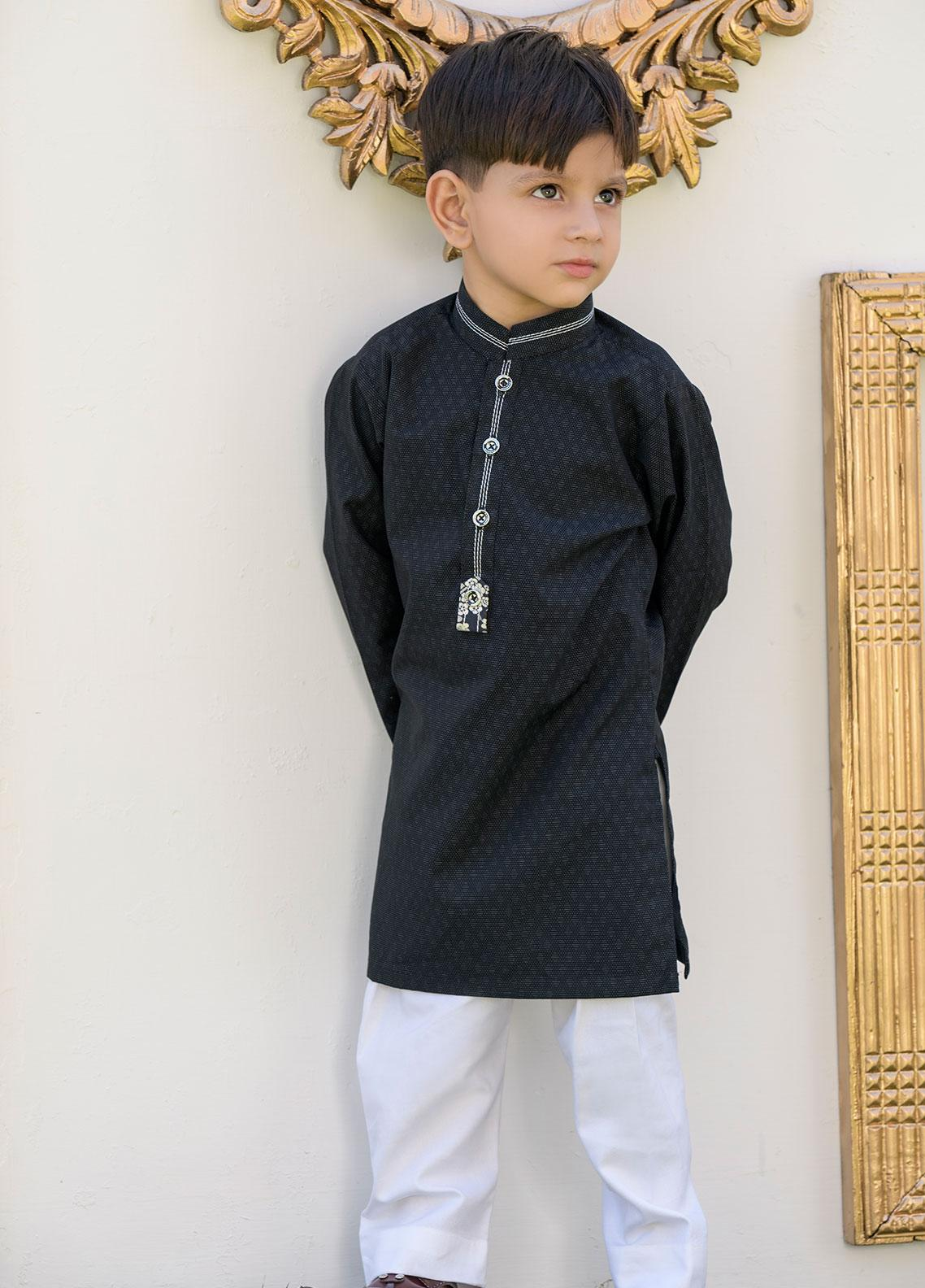 Chic Ophicial Cotton Formal Kurta Pajama with Waistcoat for Boys -  CH02 Silver Linning