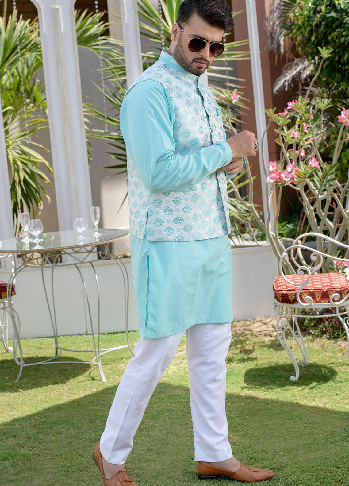 Chic Ophicial Cotton Formal Kurta Pajama with Waistcoat for Men -  CH31 Aqua Crush