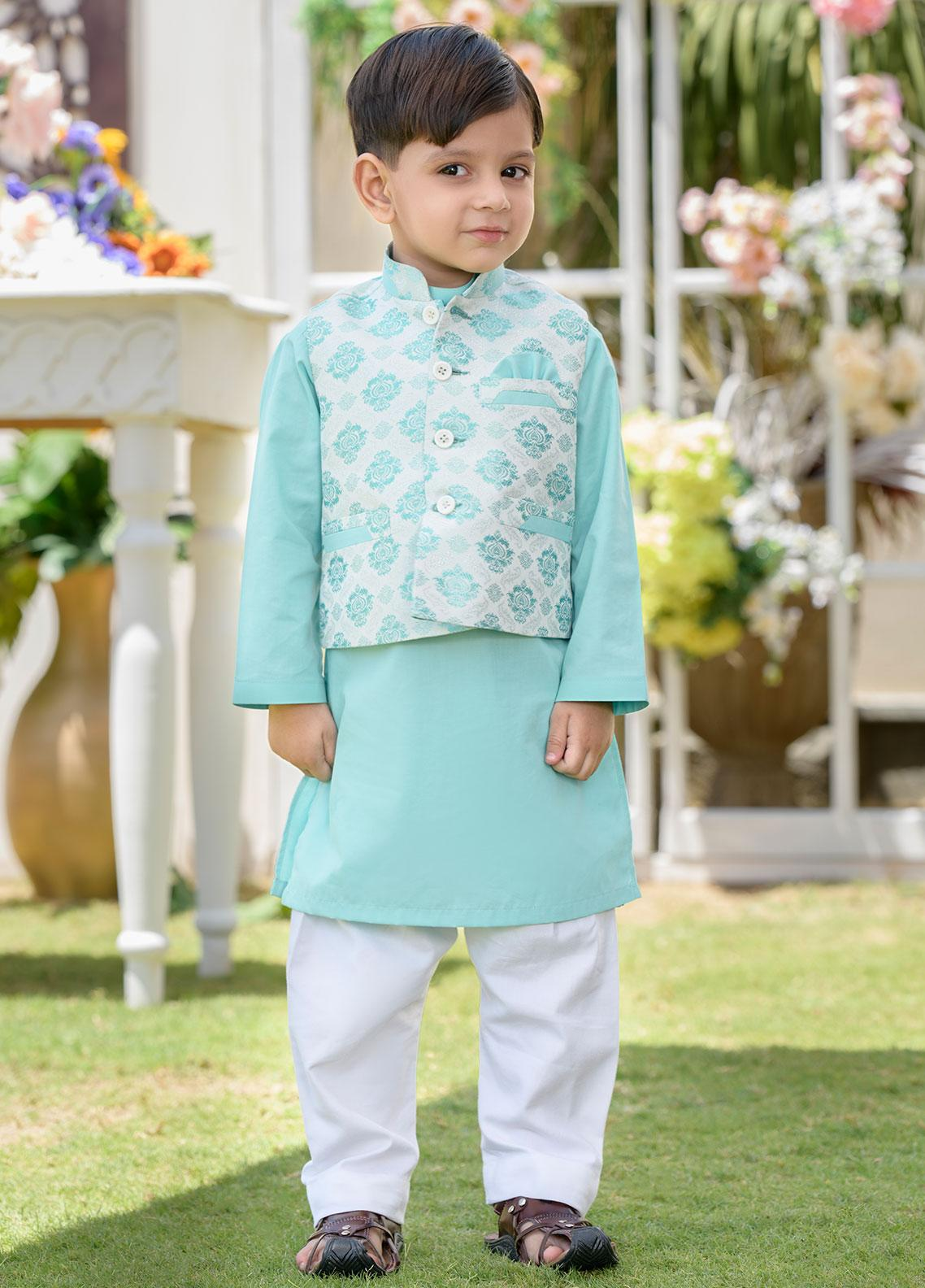 Chic Ophicial Cotton Formal Kurta Pajama with Waistcoat for Boys -  CH32 Aqua Crush