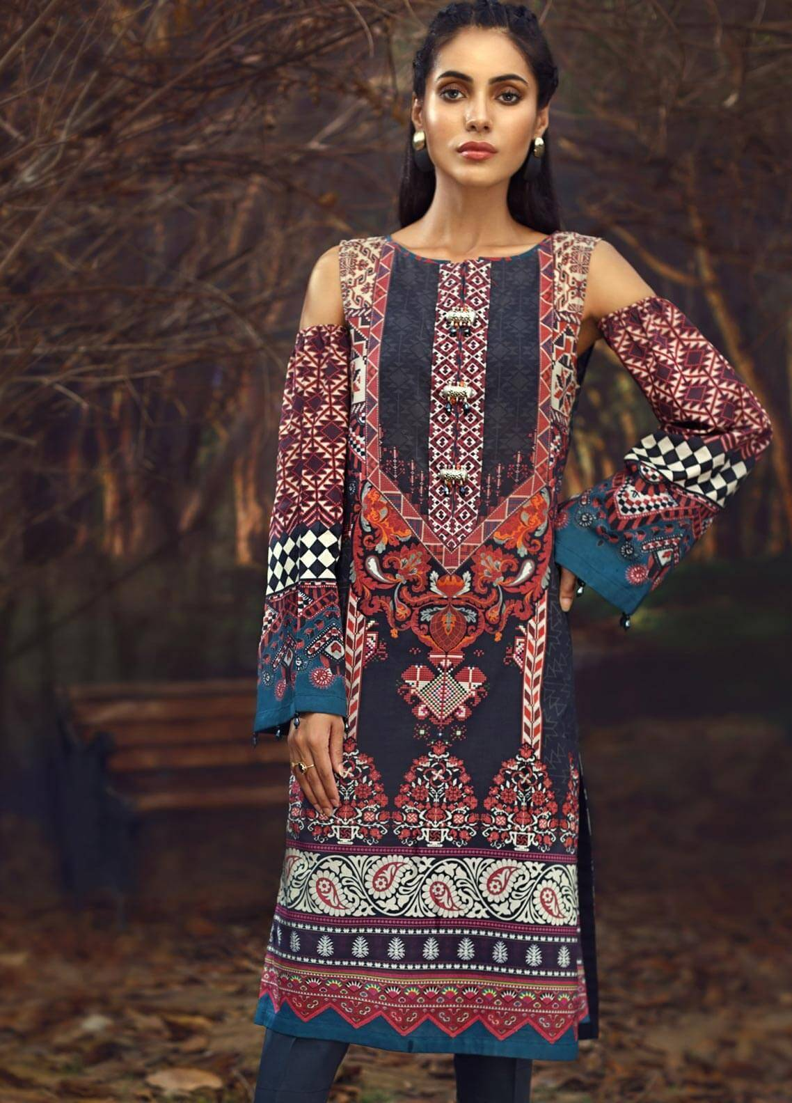 LimeLight Printed Cambric Unstitched Kurties CLARET DYNASTY - Cambric Collection