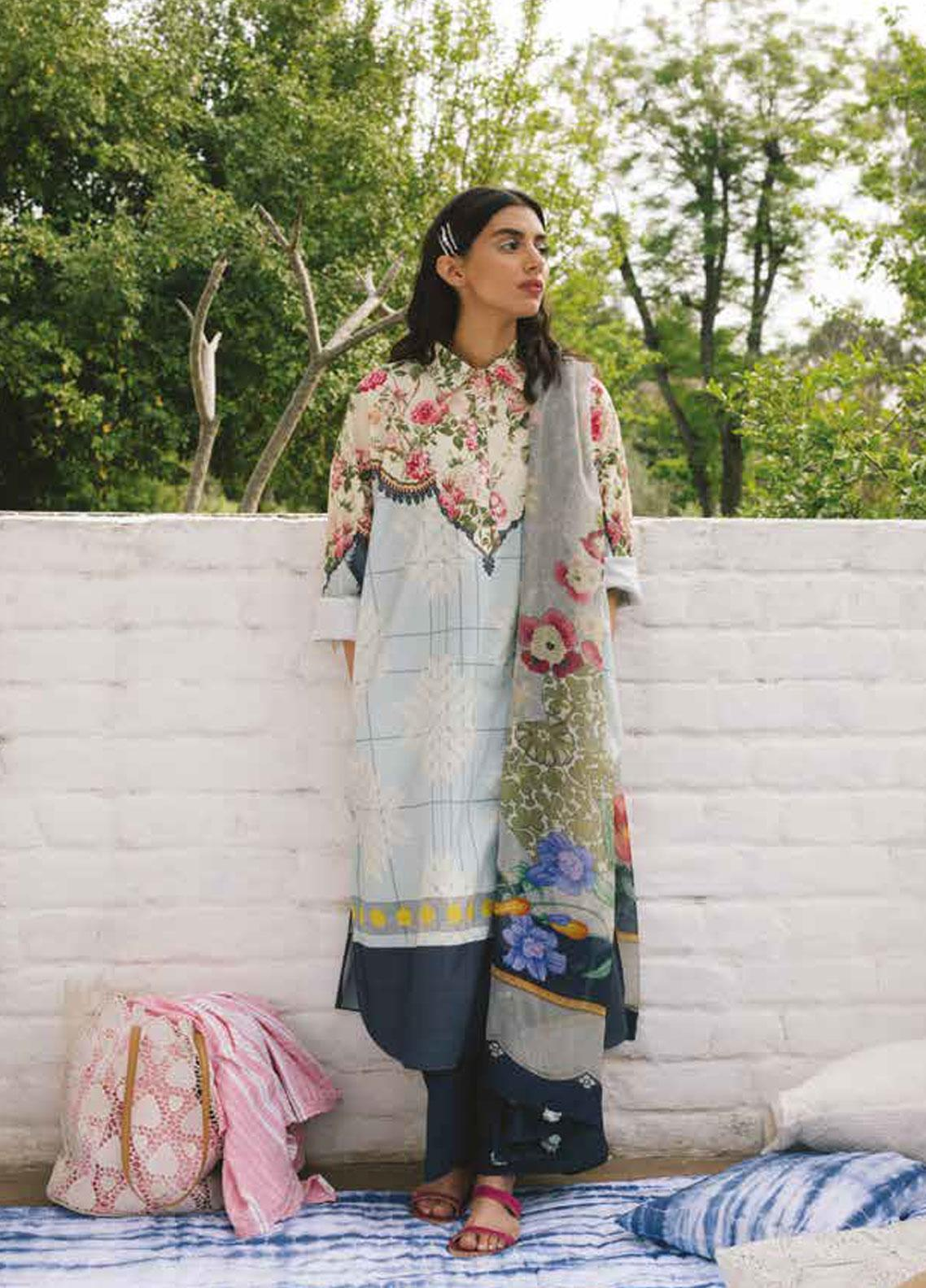 Coco by Zara Shahjahan Embroidered Lawn Unstitched 3 Piece Suit COC19L 9B - Spring / Summer Collection