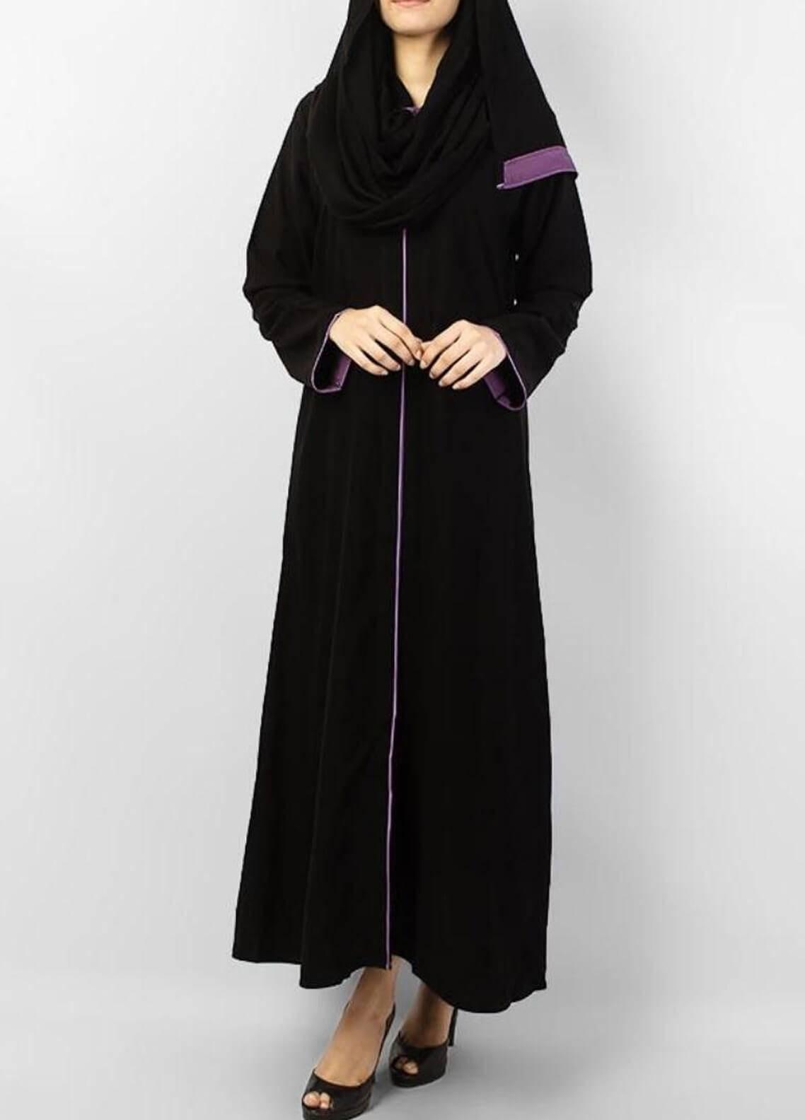 Hijab ul Hareem  Abayas Colored Pipin Work Stylish Abaya 0116-R (1)