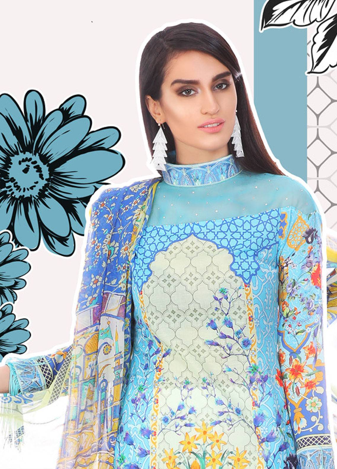 Coronation Embroidered Lawn Unstitched 3 Piece Suit COR18L 03 - Spring / Summer Collection