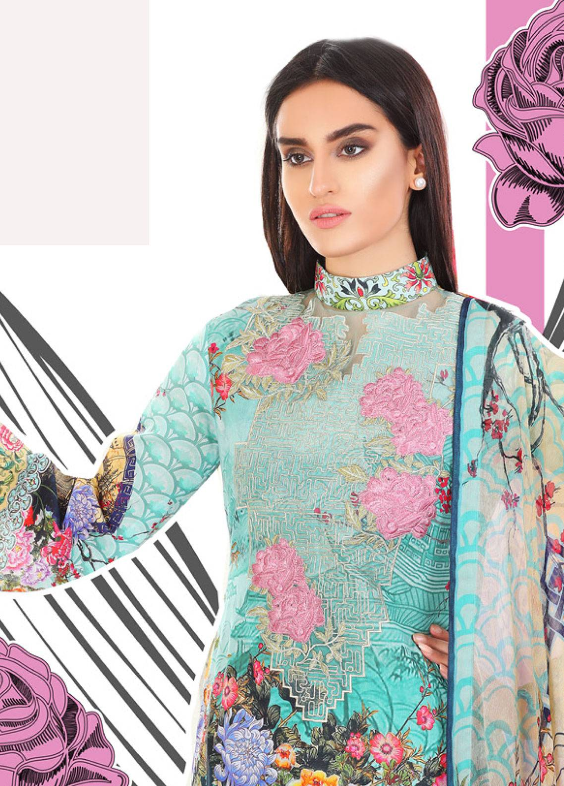 Coronation Embroidered Lawn Unstitched 3 Piece Suit COR18L 07 - Spring / Summer Collection