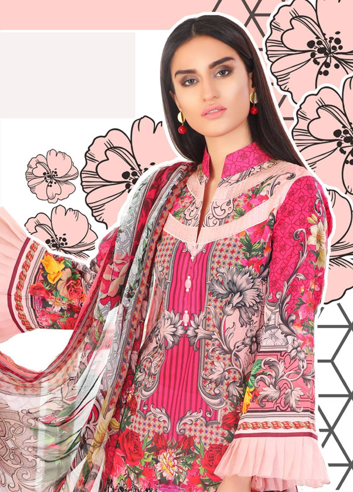Coronation Embroidered Lawn Unstitched 3 Piece Suit COR18L 08 - Spring / Summer Collection
