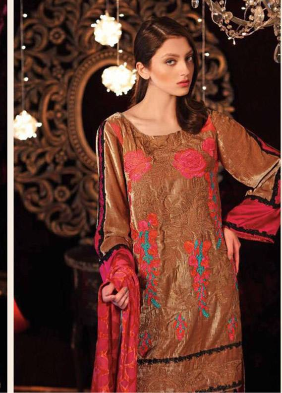Charizma Embroidered Velvet Unstitched 3 Piece Suit CR17V 14