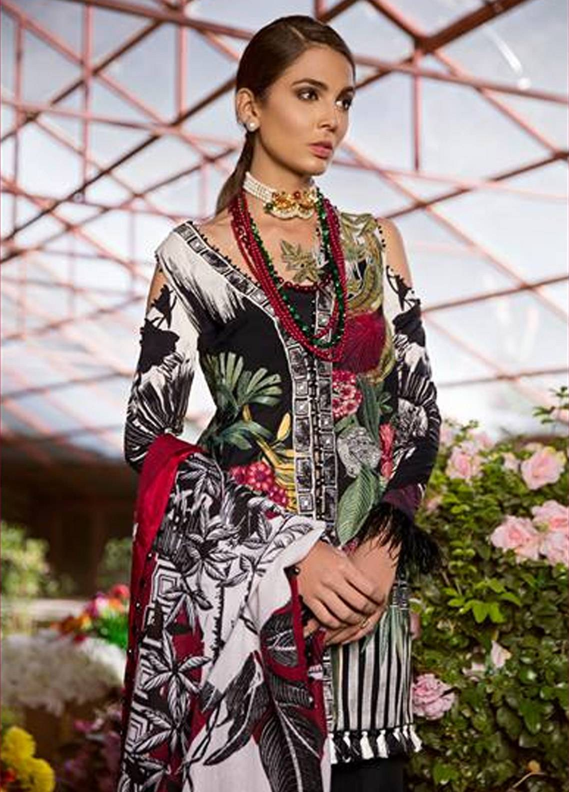 Crimson Embroidered Cambric Unstitched 3 Piece Suit CR18W 3A Ikat - Black - Winter Luxury Collection