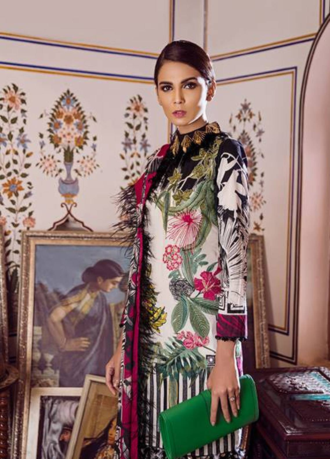 Crimson Embroidered Cambric Unstitched 3 Piece Suit CR18W 3B Ikat - White - Winter Luxury Collection