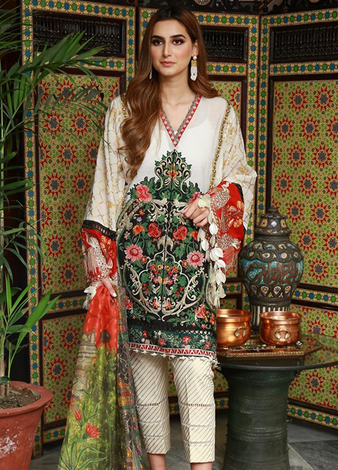 Crimson Embroidered Lawn Unstitched 3 Piece Suit CRM19L 3B - Spring / Summer Collection