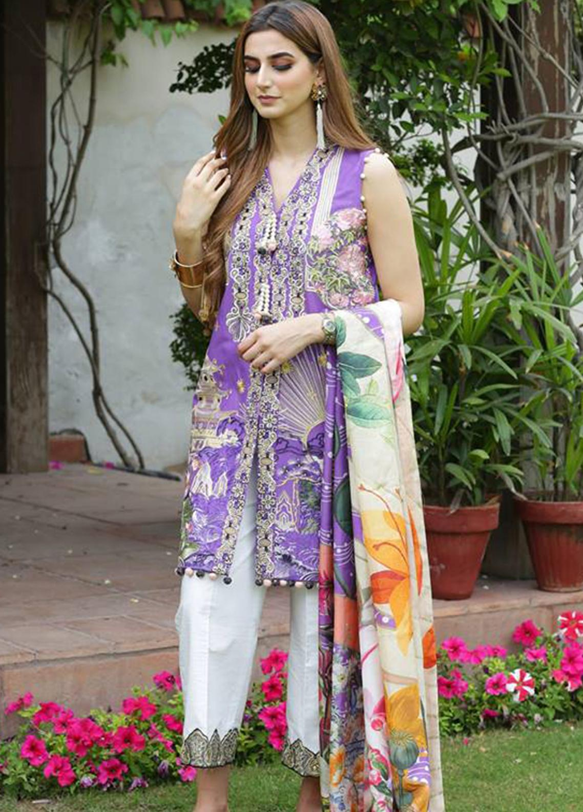 Crimson Embroidered Lawn Unstitched 3 Piece Suit CRM19L 4B - Spring / Summer Collection