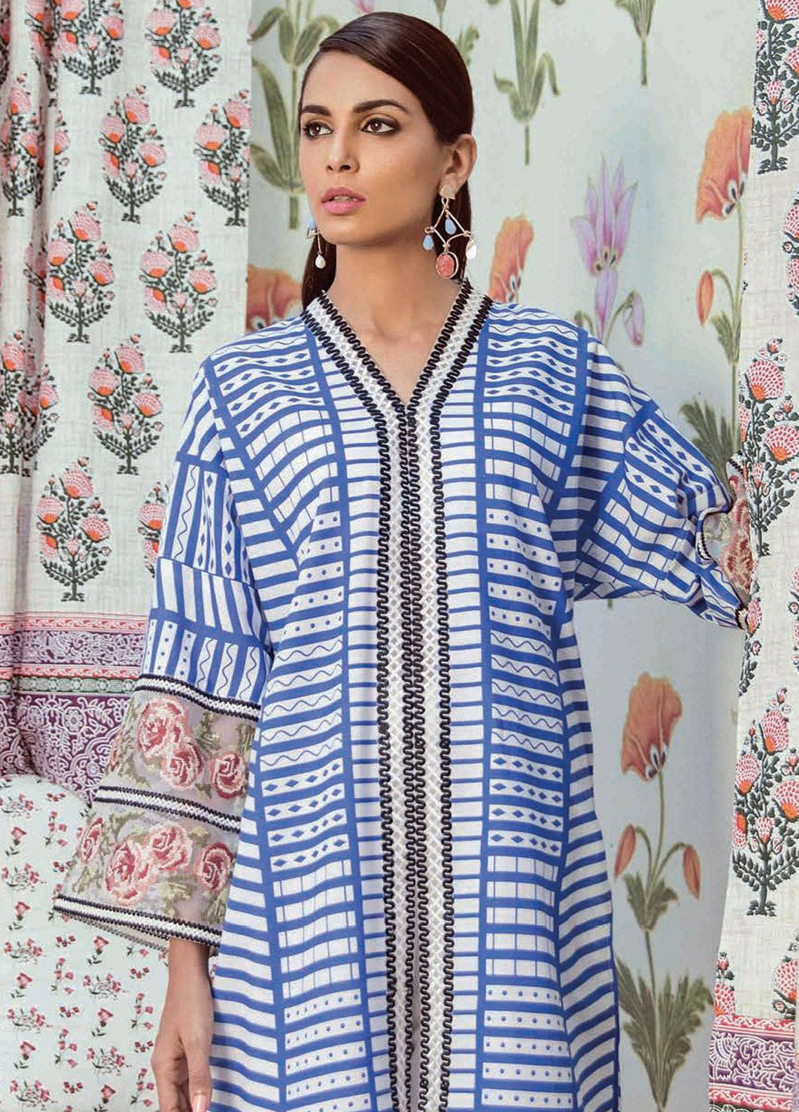 Cross Stitch Embroidered Khaddar Unstitched 2 Piece Suit CS18WK 13 Lapis Ornate - Fall Winter Collection