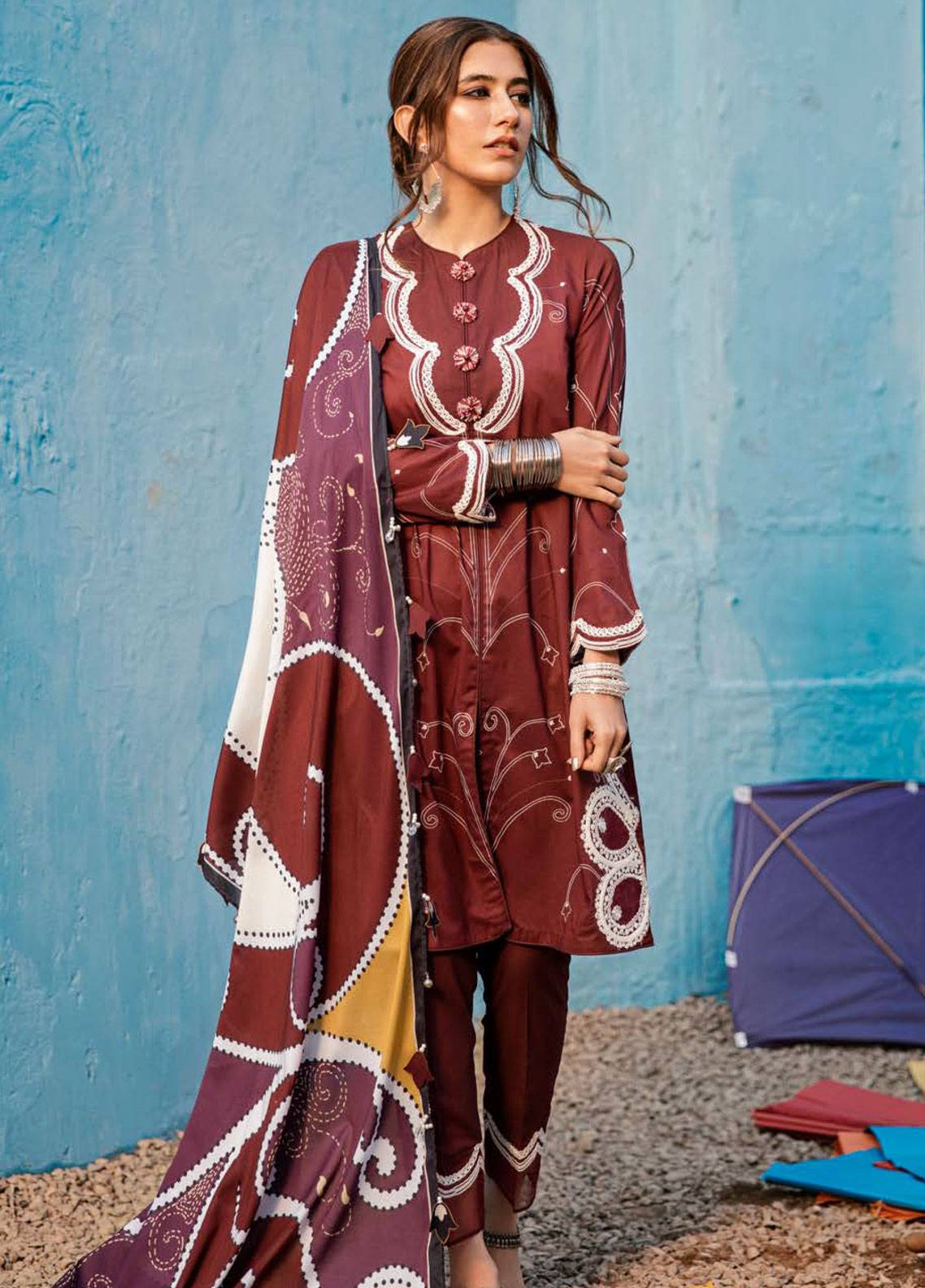 Cross Stitch Embroidered Lawn Unstitched 3 Piece Suit CS19L 08 Burgundy curl - Spring / Summer Collection