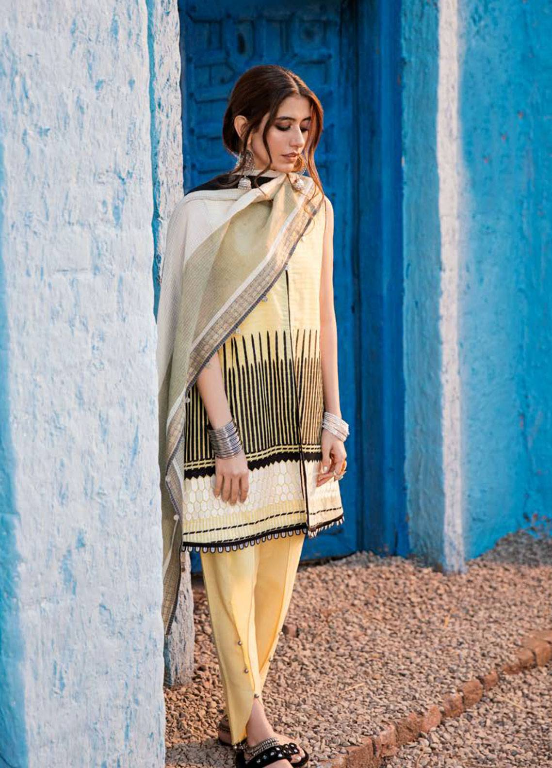 Cross Stitch Embroidered Lawn Unstitched 3 Piece Suit CS19L 15 Corn Silk - Spring / Summer Collection