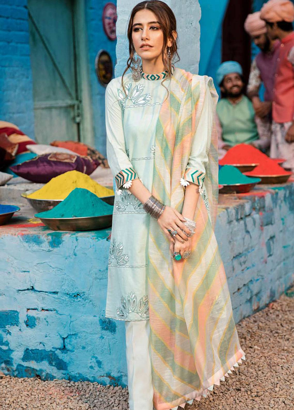 Cross Stitch Embroidered Woven Unstitched 3 Piece Suit CS19L 18 Dusty Aqua - Spring / Summer Collection