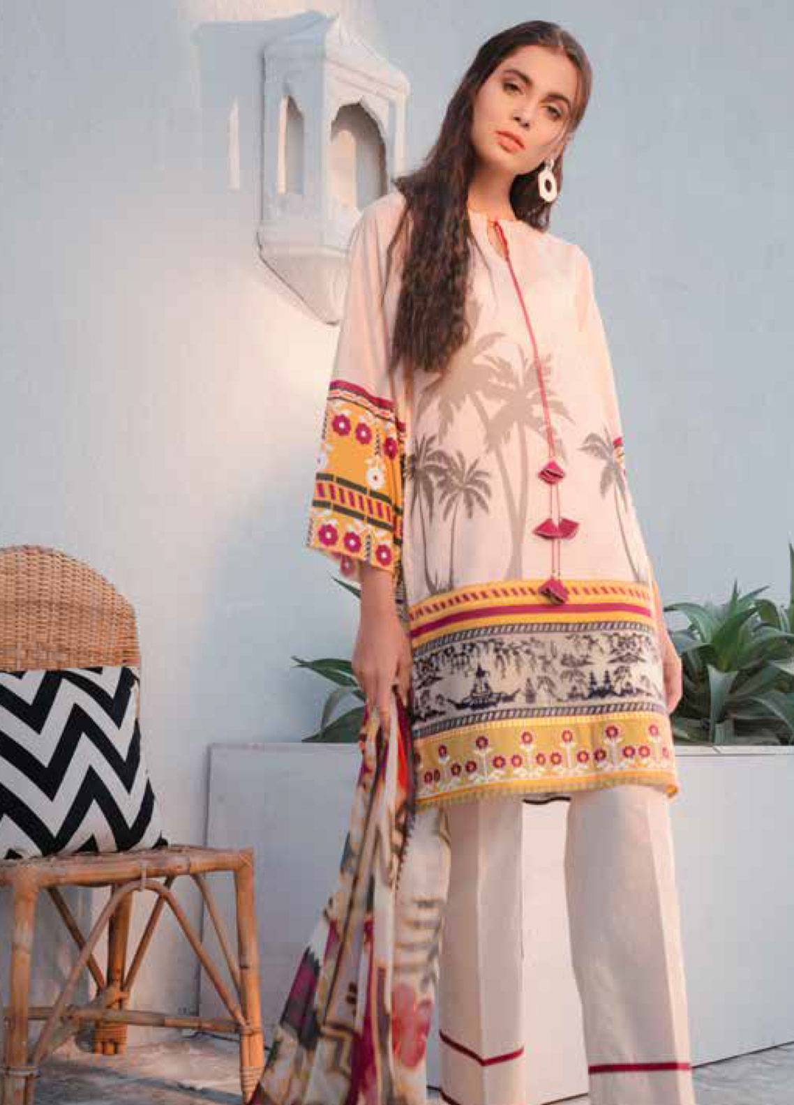 Cross Stitch Embroidered Lawn Unstitched 3 Piece Suit CS19-L2 08 RELISH PALM - Spring / Summer Collection