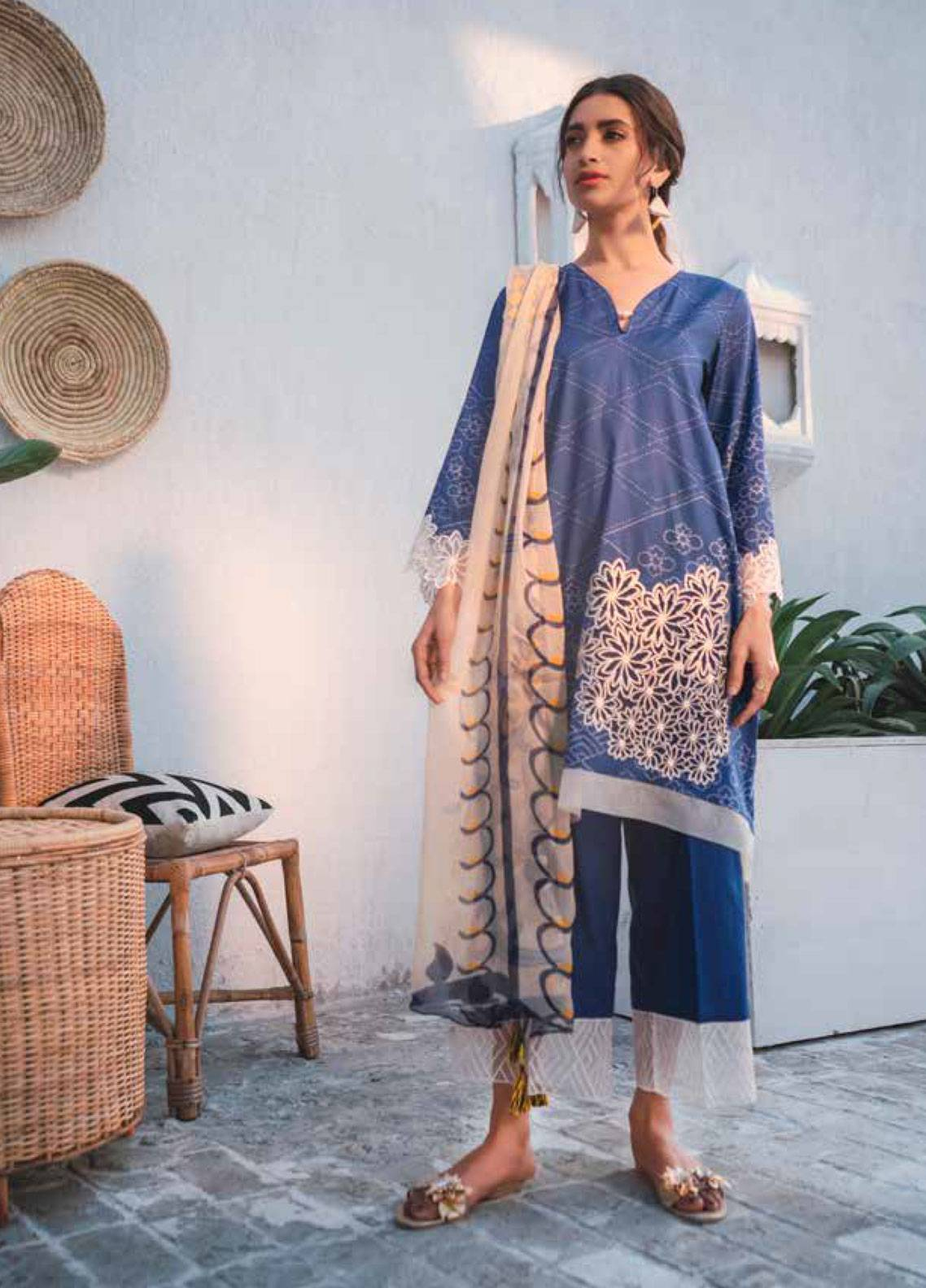 Cross Stitch Embroidered Lawn Unstitched 3 Piece Suit CS19-L2 09 ELECTRIC FLECK - Spring / Summer Collection