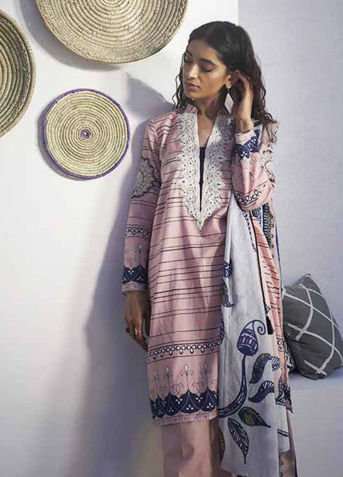 Cross Stitch Embroidered Lawn Unstitched 3 Piece Suit CS19-L2 10 APRICOT ALLURE - Spring / Summer Collection