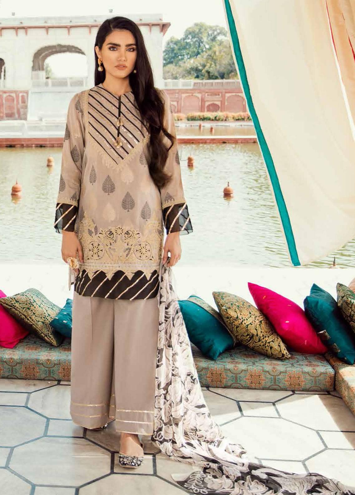 Cross Stitch Embroidered Lawn Unstitched 3 Piece Suit CS19E 15 BARG-E-BAHAR - Eid Collection