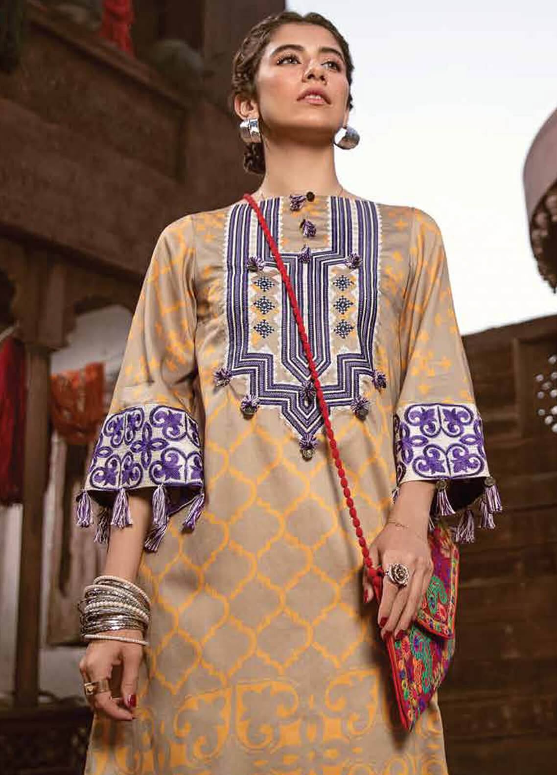 Cross Stitch Embroidered Cotton Satin Unstitched 2 Piece Suit CS18CS APPLIQUE DELICACY 01 - Modern Nomad Collection