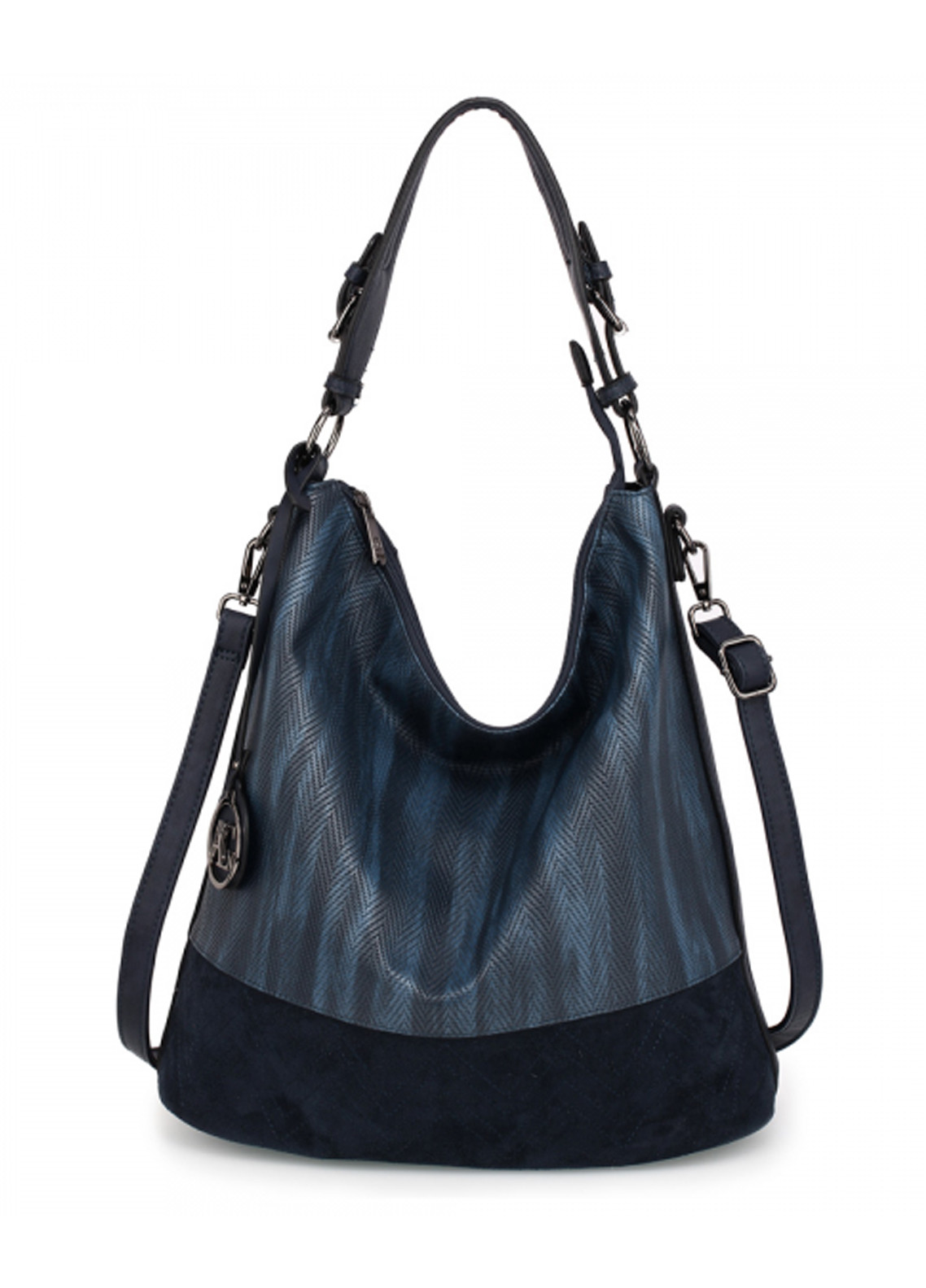 05e5d58bcdfb Anna Grace London Faux Leather Hobo Bags for Women Navy with Plain Texture  Metal Work