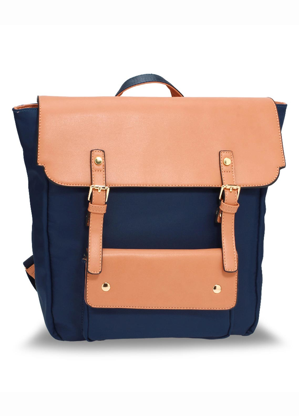 51eb973d96ec Anna Grace London Faux Leather Backpack Bags for Women Navy with Smooth  Texture