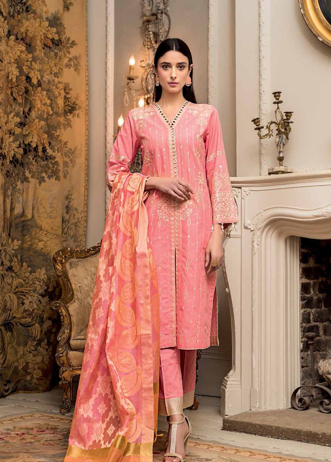 17cd6c3d0b Gul Ahmed Embroidered Jacquard Unstitched 3 Piece Suit GA19E FE-221 - Eid  Collection