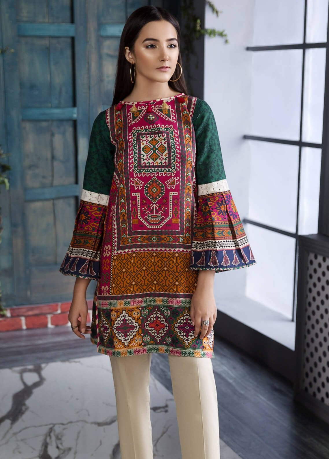 a78ccedc21a8 Limelight Printed Khaddar Unstitched Kurties Ll18w 381 Green. New Limelight  Winter Collection ...