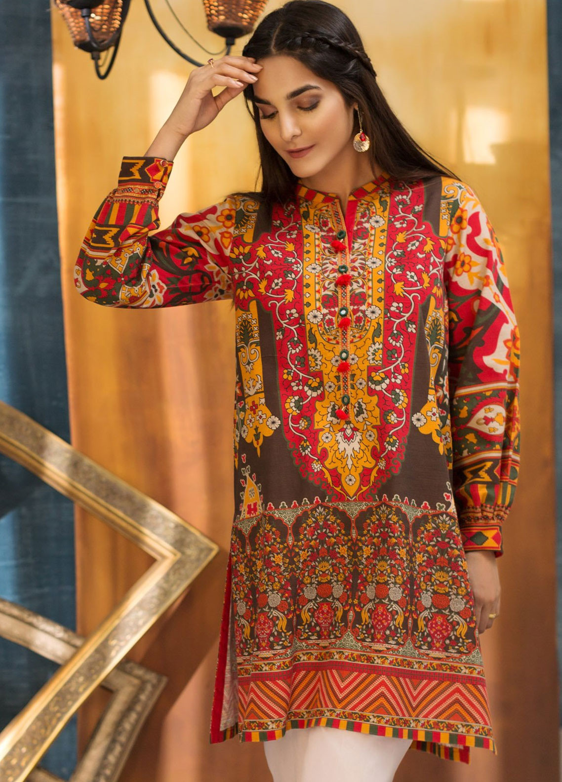 2bed338eb422 LimeLight Printed Khaddar Unstitched Kurties LL18W 560 Red - Winter  Collection