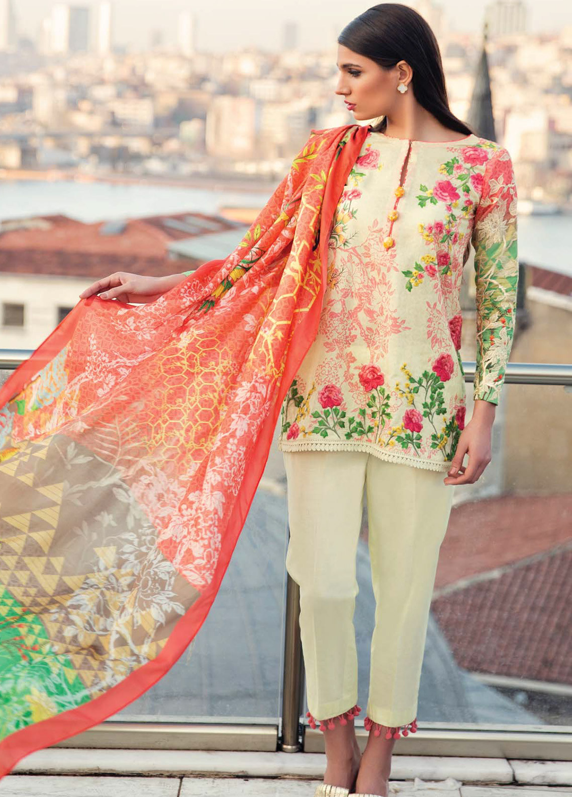 d6d4ee1fe0 Mina Hasan Embroidered Lawn Unstitched 3 Piece Suit MH18L 4A - Festive  Collection