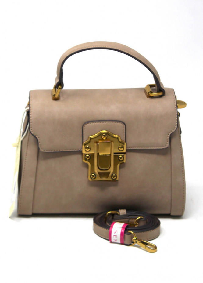 Susen PU Leather Satchels Bag for Women - Brown with Plain Texture