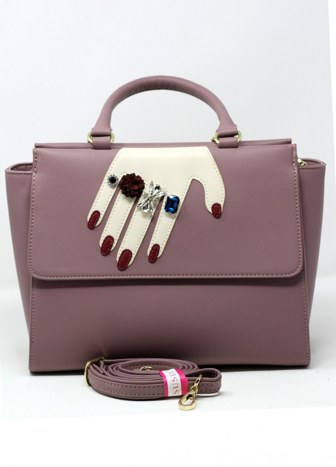 Susen PU Leather Satchels Bag for Women - Grey with Pearl Style