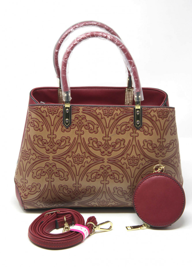 Susen PU Leather Satchels Bag for Women - Maroon with Printed