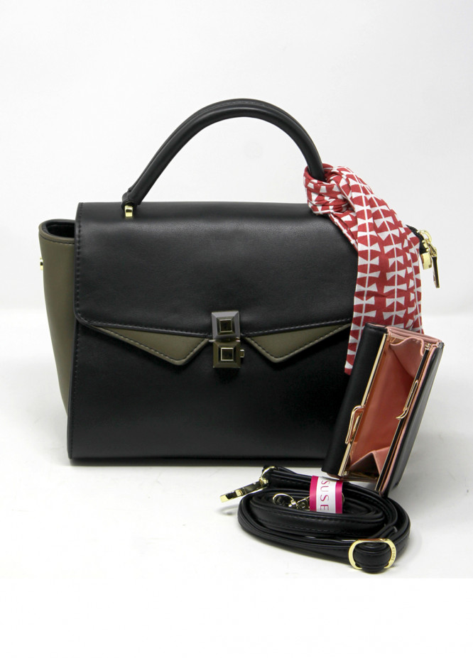 Susen PU Leather Satchels Bag for Women - Black with  Tassel