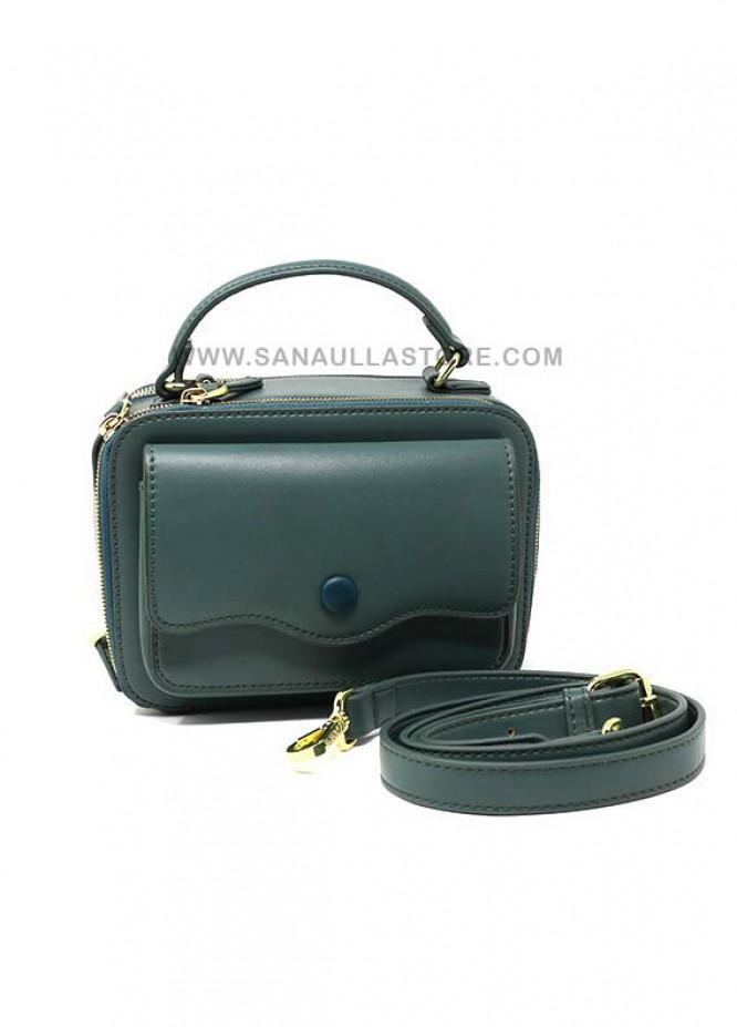 Susen PU Leather Satchels Handbags for Women - Green with Plain Design