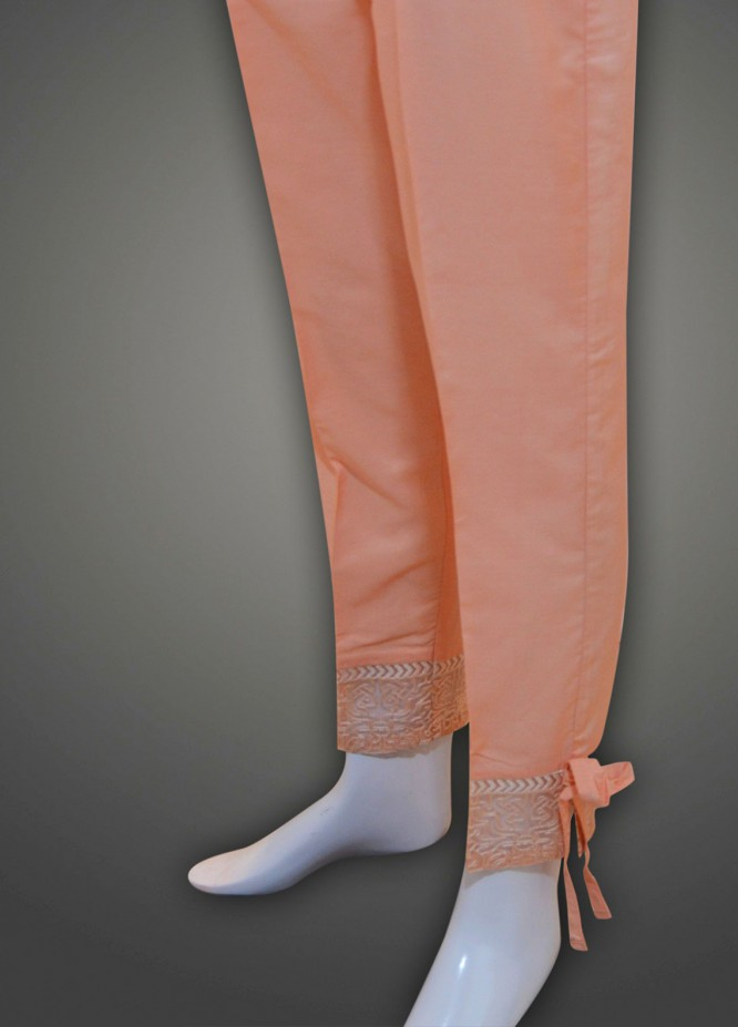 Dhanak Embroidered  Stitched Trousers DK18K 975 Peach