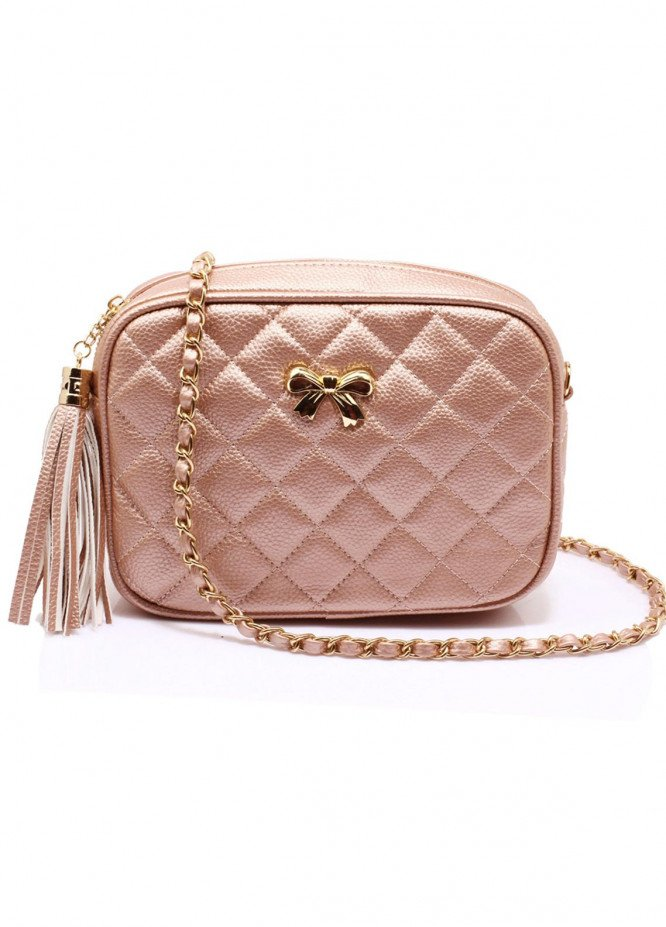 Anna Grace London Faux Leather Shoulder Bags  for Women  Champagne with Quilted Texture