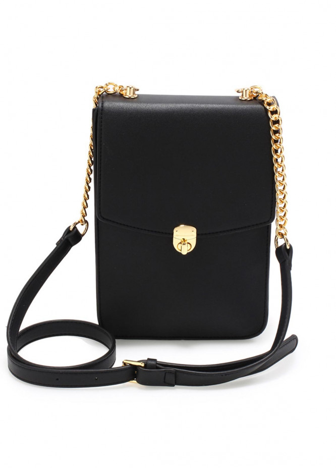 Anna Grace London Faux Leather Crossbody  Bags  for Women  Black with Smooth Texture