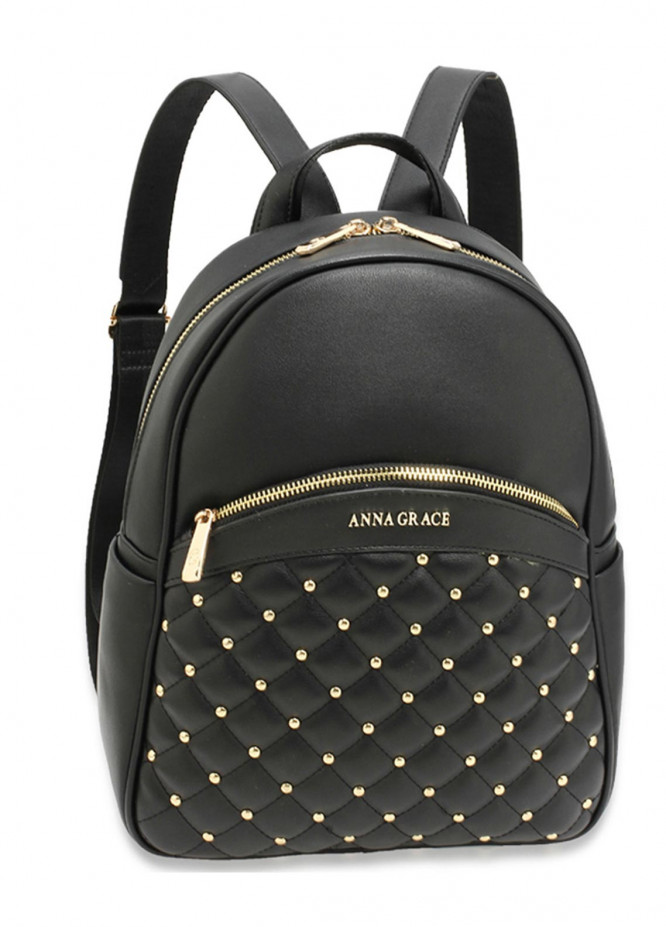 5013c9ef90d Anna Grace London Faux Leather Backpack Bags for Women Black with Smooth  Texture. Online only