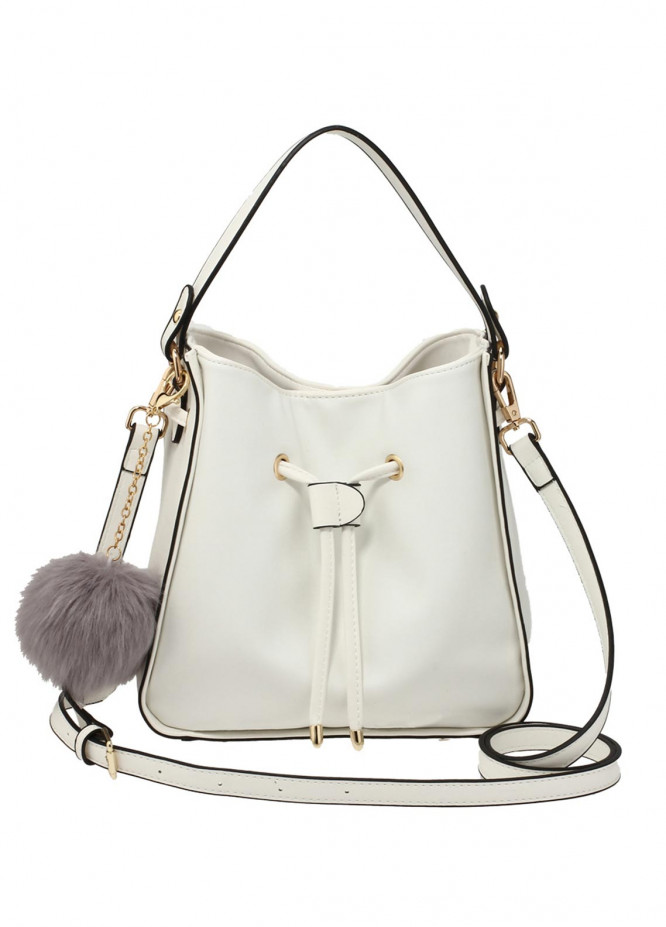 Anna Grace London Faux Leather Tote Bags  for Women  White with Shiny Texture