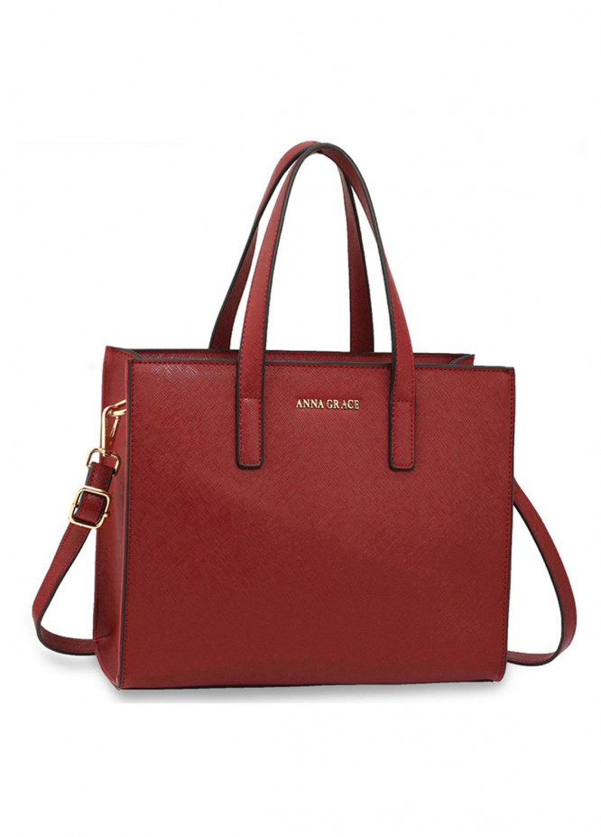 Anna Grace London Faux Leather Tote Bags  for Women  Red with Smooth Texture
