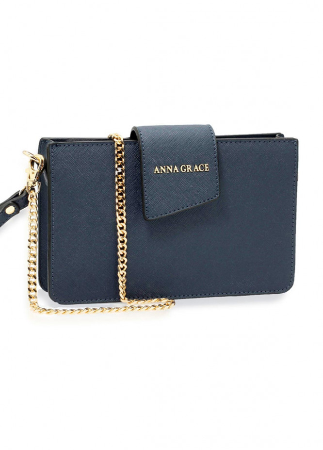 Anna Grace London Faux Leather Crossbody  Bags  for Women  Navy with Rugged Texture