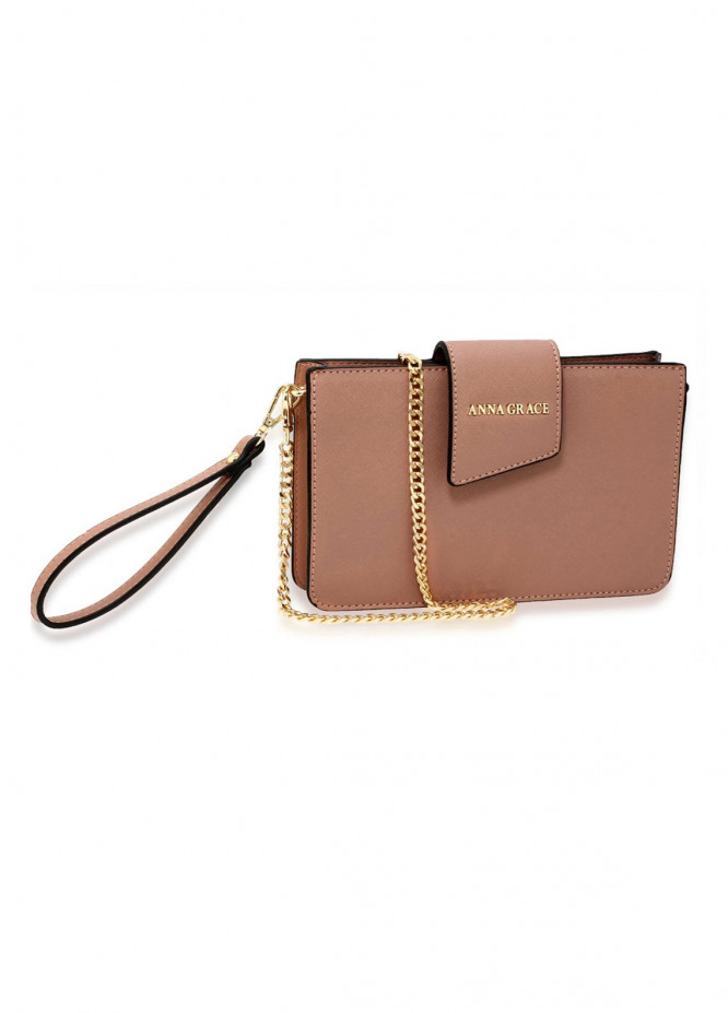 Anna Grace London Faux Leather Crossbody  Bags  for Women  Nude with Rugged Texture