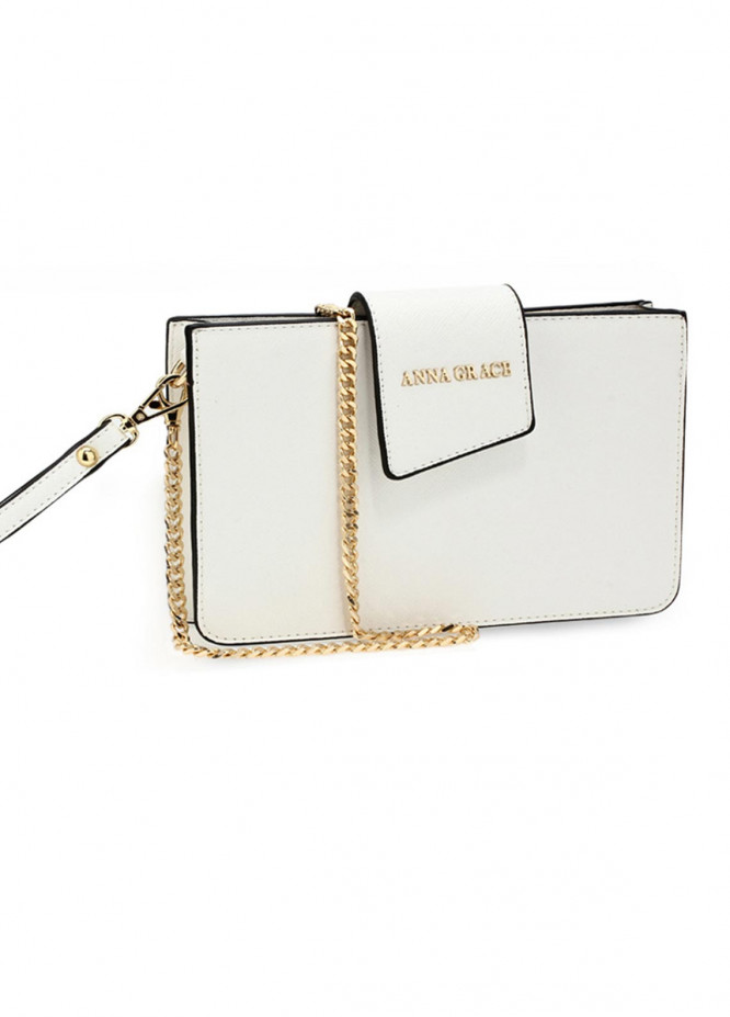 Anna Grace London Faux Leather Crossbody  Bags  for Women  White with Rugged Texture