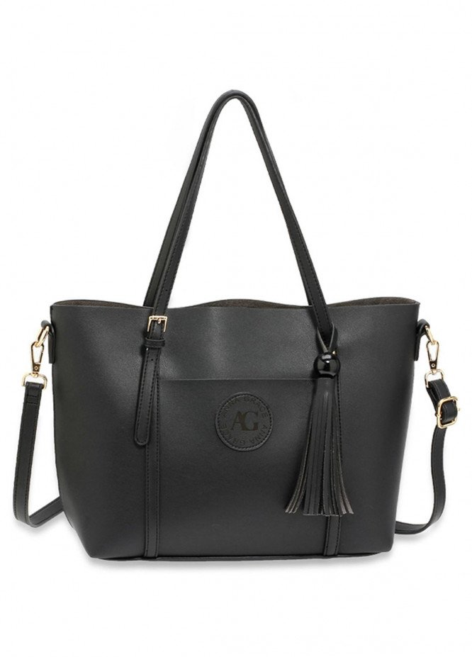 Anna Grace London Faux Leather Tote Bags  for Women  Black with Smooth Texture