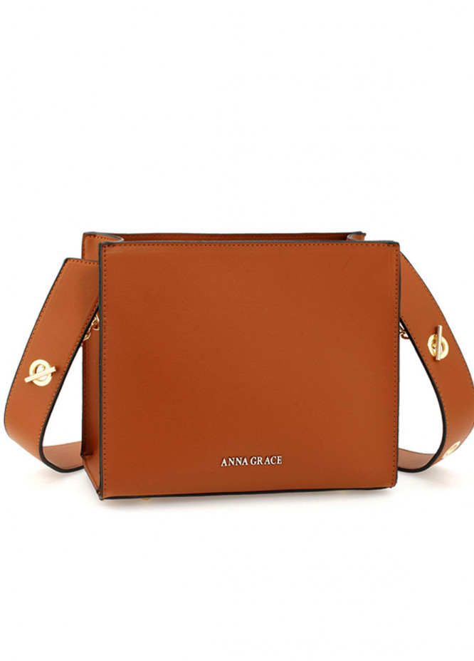 Anna Grace London Faux Leather Tote Bags  for Women  Brown with Smooth Texture