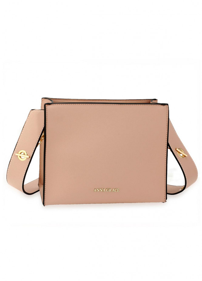 Anna Grace London Faux Leather Tote Bags  for Women  Nude with Smooth Texture