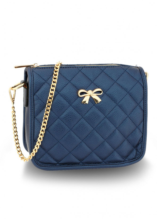 Anna Grace London Faux Leather Crossbody  Bags  for Women  Navy with Quilted Texture
