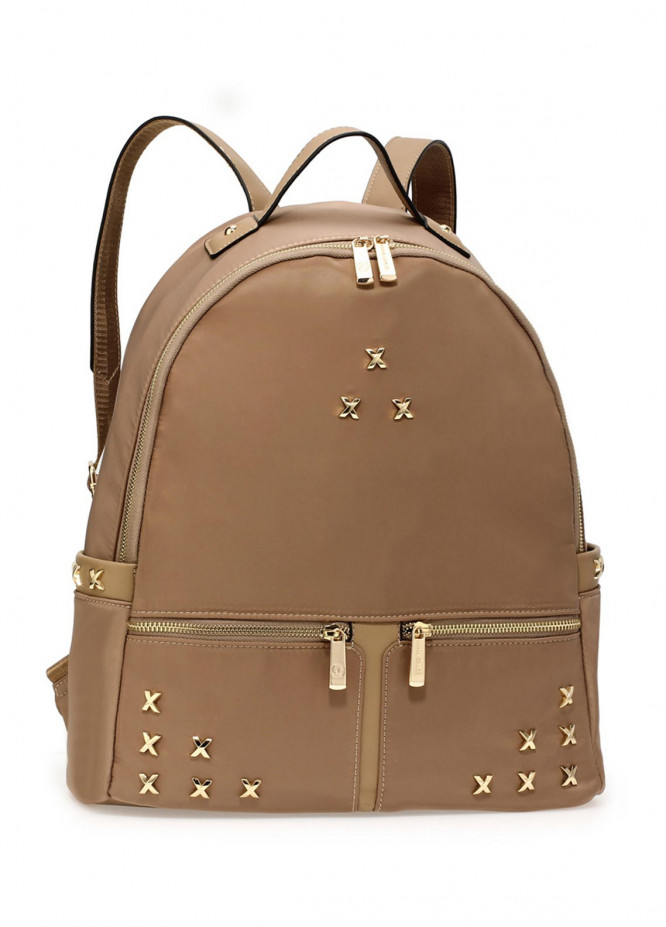 Anna Grace London Satin Backpack Bags  for Women  Nude with Shiny Texture