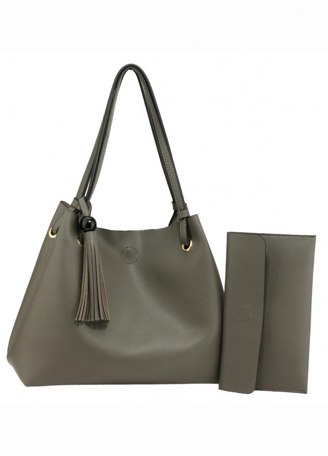 Anna Grace London Faux Leather Hobo Bags  for Women  Grey with Smooth Texture